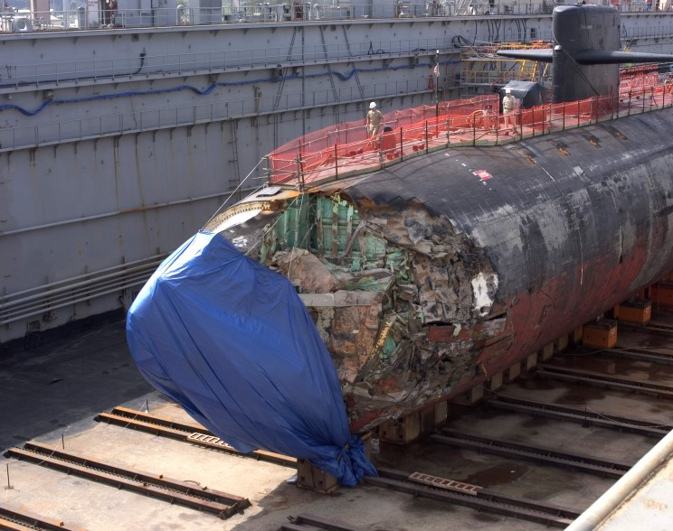 January 27, 2005 Damage to the bow of the USS San Francisco SSN-711