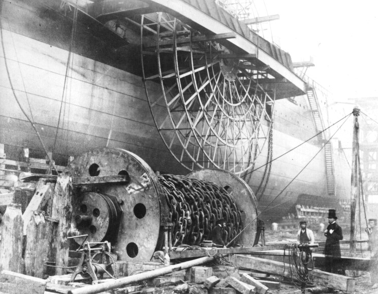 November 1857: Great Eastern ready for launch, the builder, John Scott ...