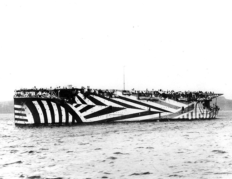 HMS Argus, the worlds first operational aircraft carrier, in 1918.  The ship served throughout World War II.