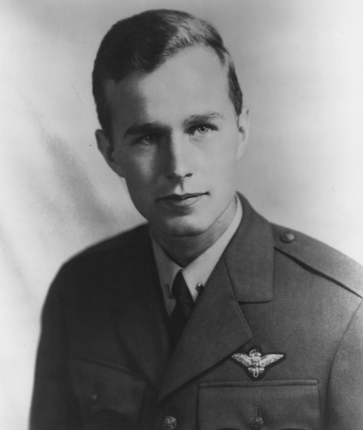 George H. W. Bush in his uniform during World War 2.