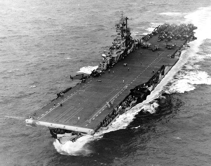 USS Intrepid CV-11 conducting flight operations during World War 2.