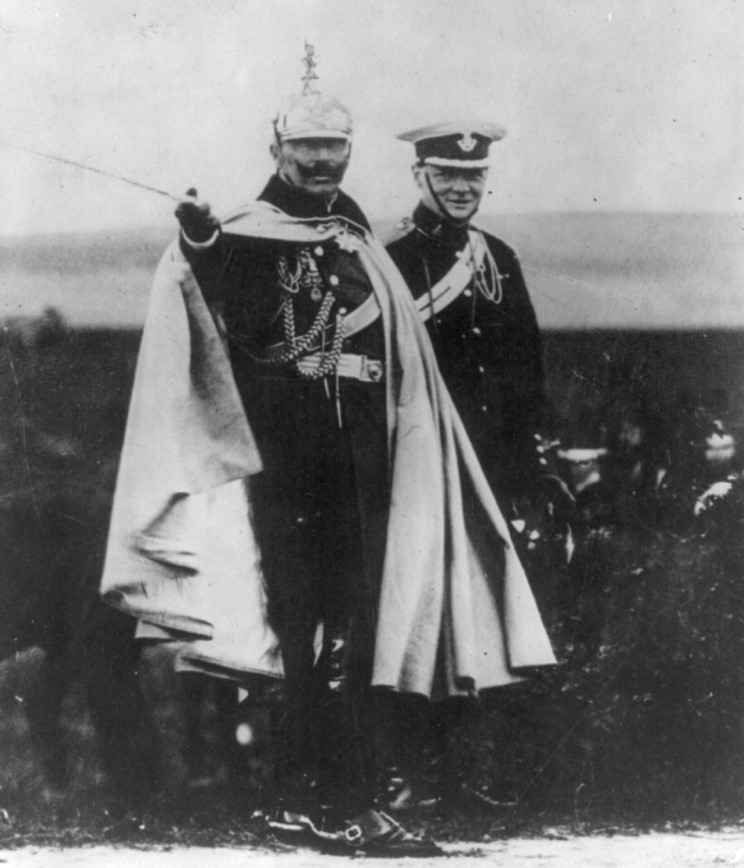 Churchill with kaiser wilhelm ii of germany reviewing german troops