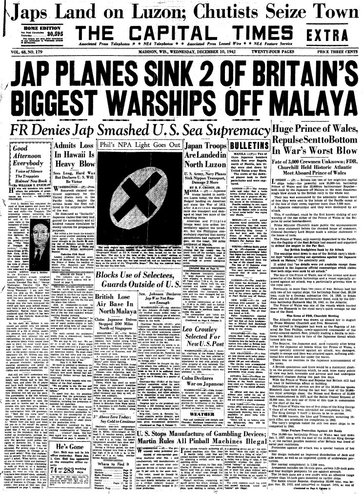 Maritimequest Hms Repulse Front Pages
