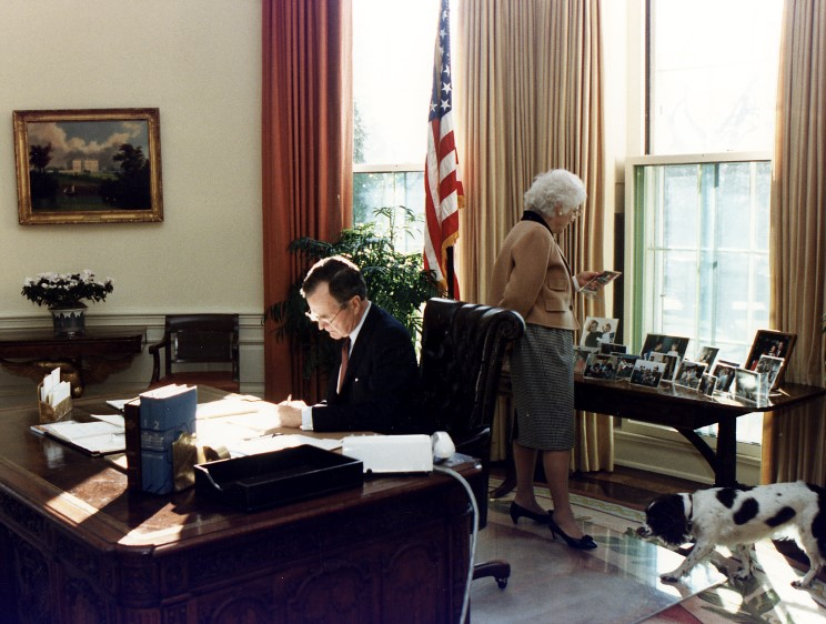 george bush oval office. George Bush Oval Office. President H. W. Bush, First Lady Barbara And Millie Office